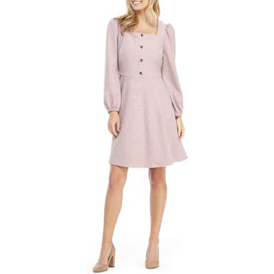 Gal Meets Glam Collection Square Neck Long Sleeve Fit & Flare Dress, Purple
