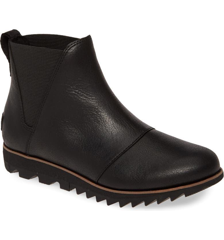 SOREL Harlow Waterproof Chelsea Boot, Main, color, BLACK LEATHER