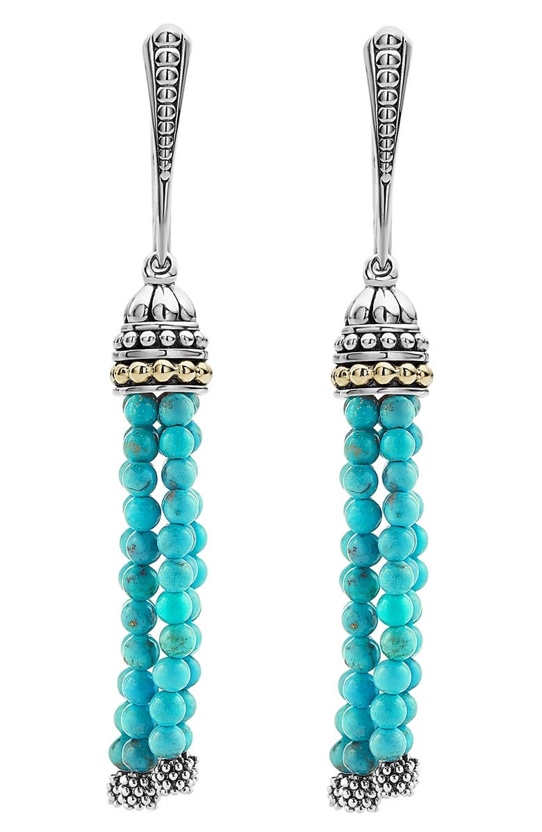 LAGOS Caviar Icon Tassel Drop Earrings, Main, color, TURQUOISE/ SILVER/ GOLD