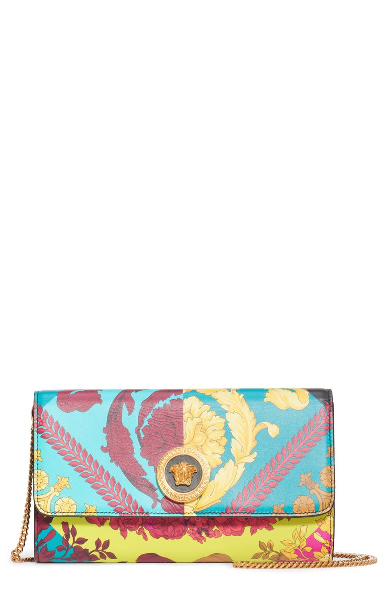 VERSACE First Line Voyage Barocco Print Wallet on a Chain, Main, color, MULTI/ ORO TRIBUTE