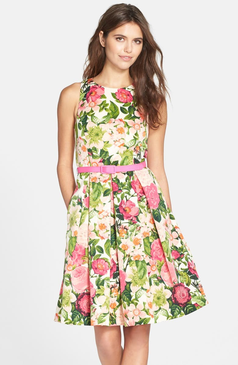 ELIZA J Belted Print Faille Fit & Flare Dress, Main, color, 650