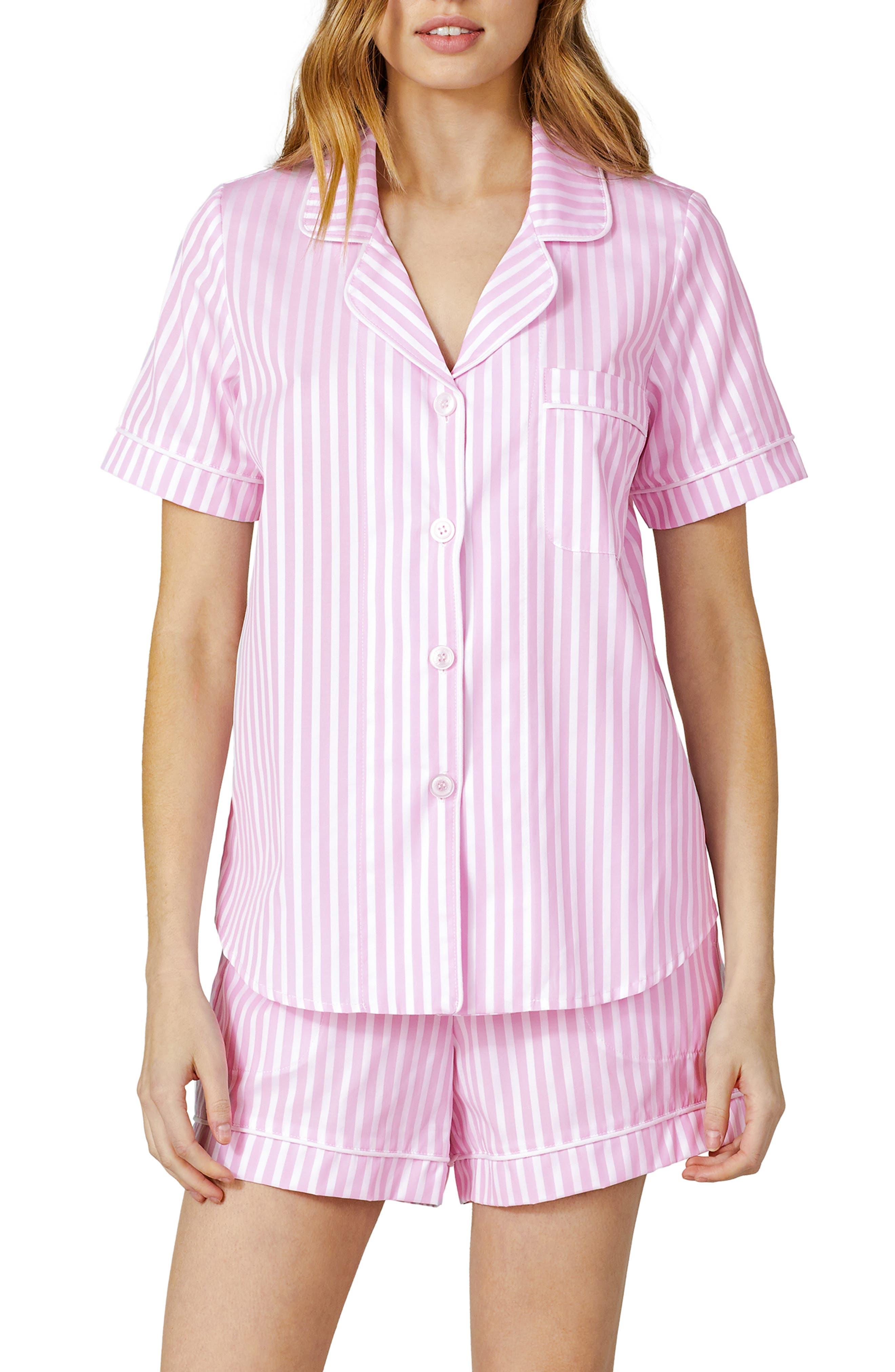3D Stripe Organic Cotton Sateen Short Pajamas