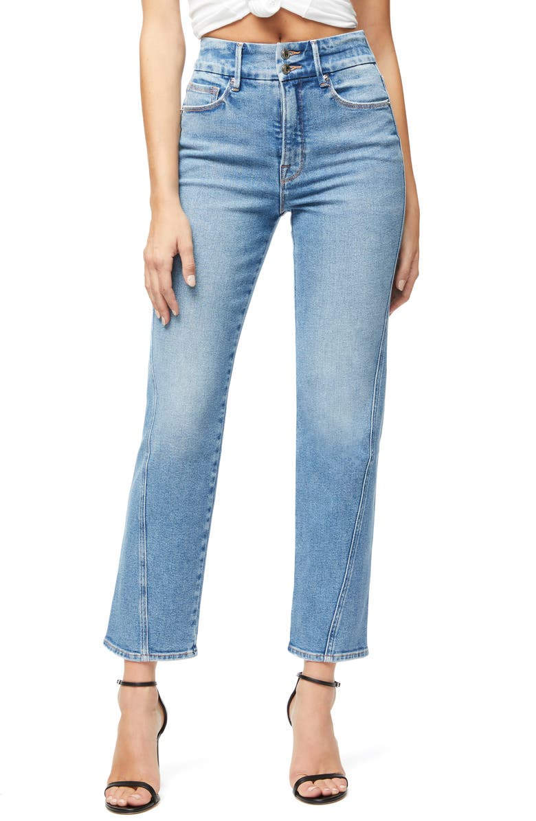 GOOD AMERICAN Good Straight Twisted Seam Jeans, Main, color, BLUE310