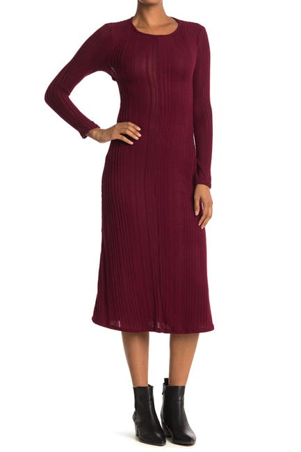 Image of Velvet Torch Keyhole Back Ribbed Long Sleeve Midi Dress