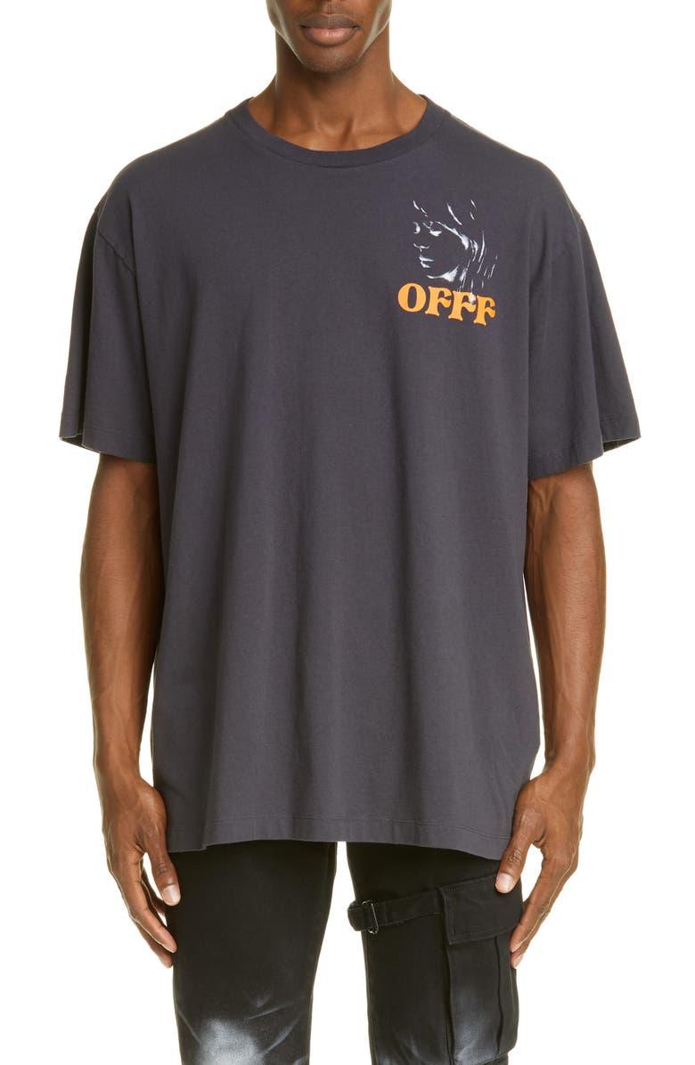OFF-WHITE Woman Portrait Oversized T-Shirt, Main, color, BLACK MULTI