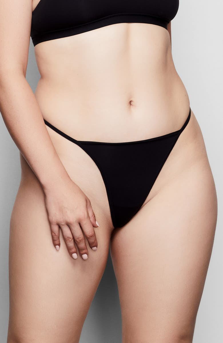SKIMS Fits Everybody T-String Thong, Main, color, ONYX