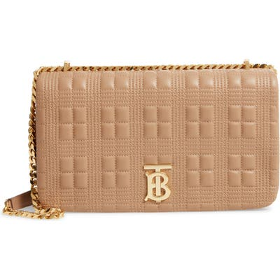Burberry Medium Lola Tb Quilted Leather Shoulder Bag - Beige