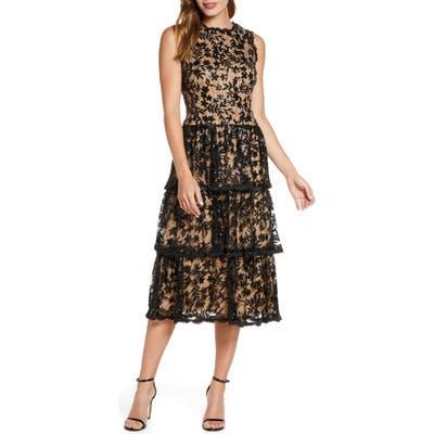 Taylor Dresses Sequin Floral Lace Embroidered Dress, Black