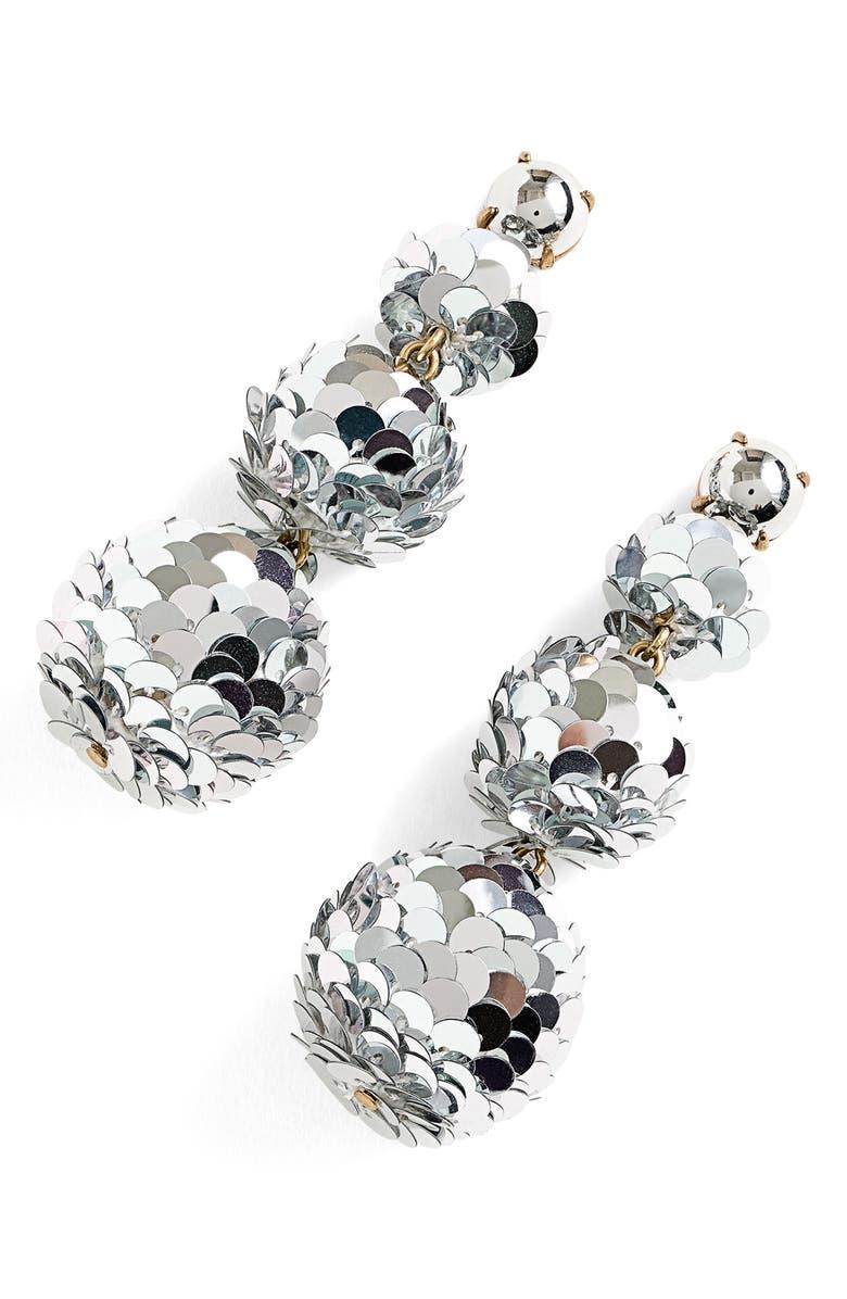J.CREW Sequin Ball Drop Earrings, Main, color, 040