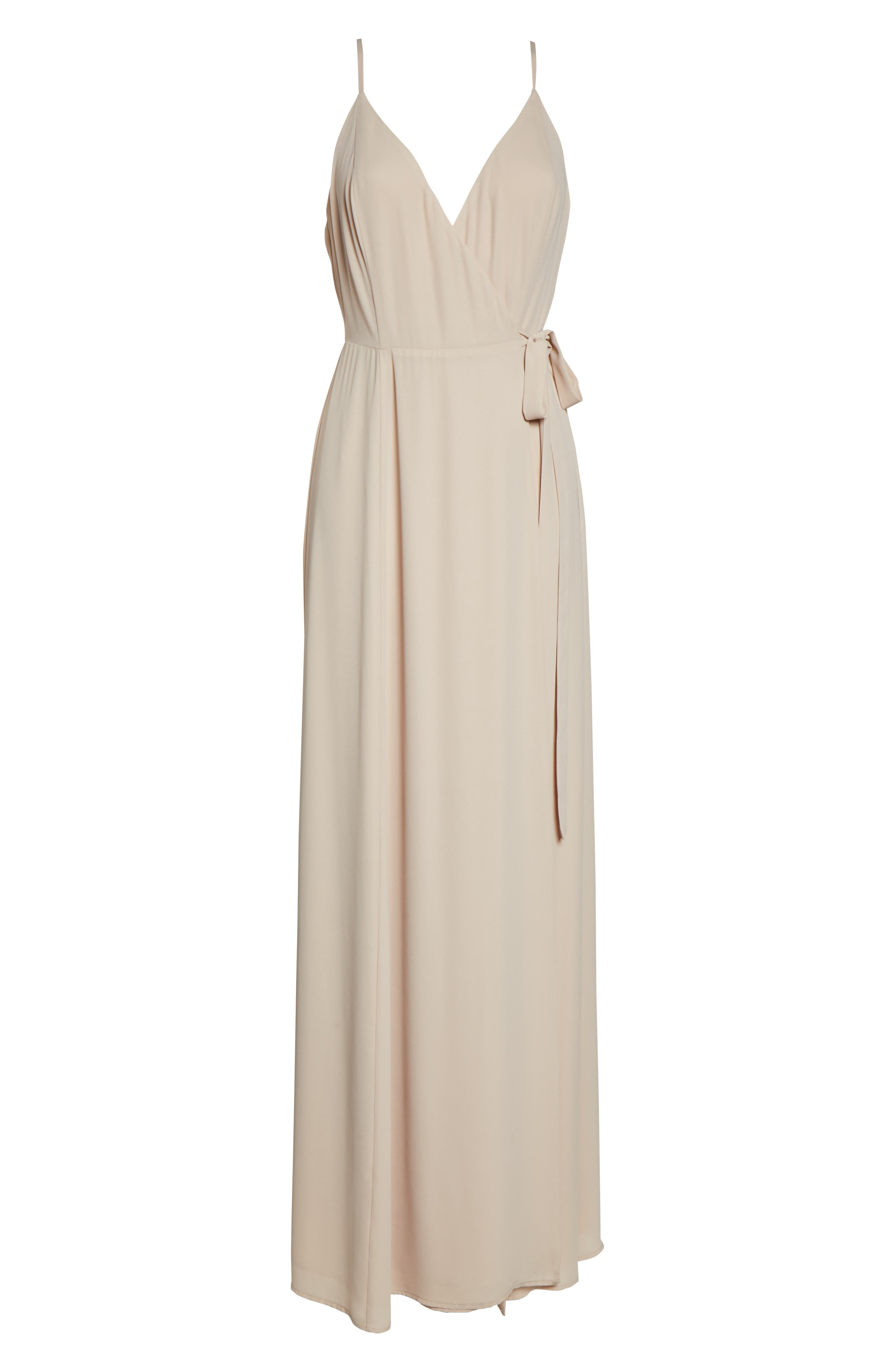 ,                             The Angelina Slit Wrap Gown,                             Alternate thumbnail 7, color,                             CHAMPAGNE