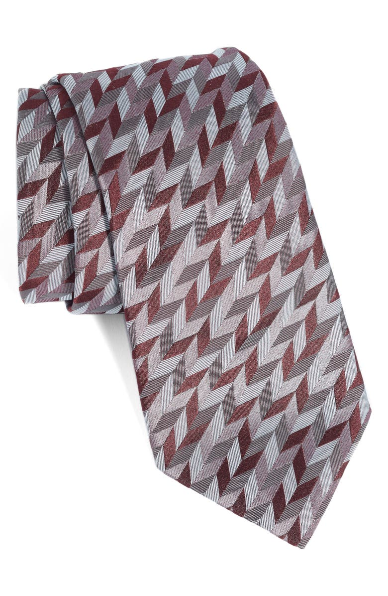 EMPORIO ARMANI Diagonal Geometric Silk Blend Tie, Main, color, 033