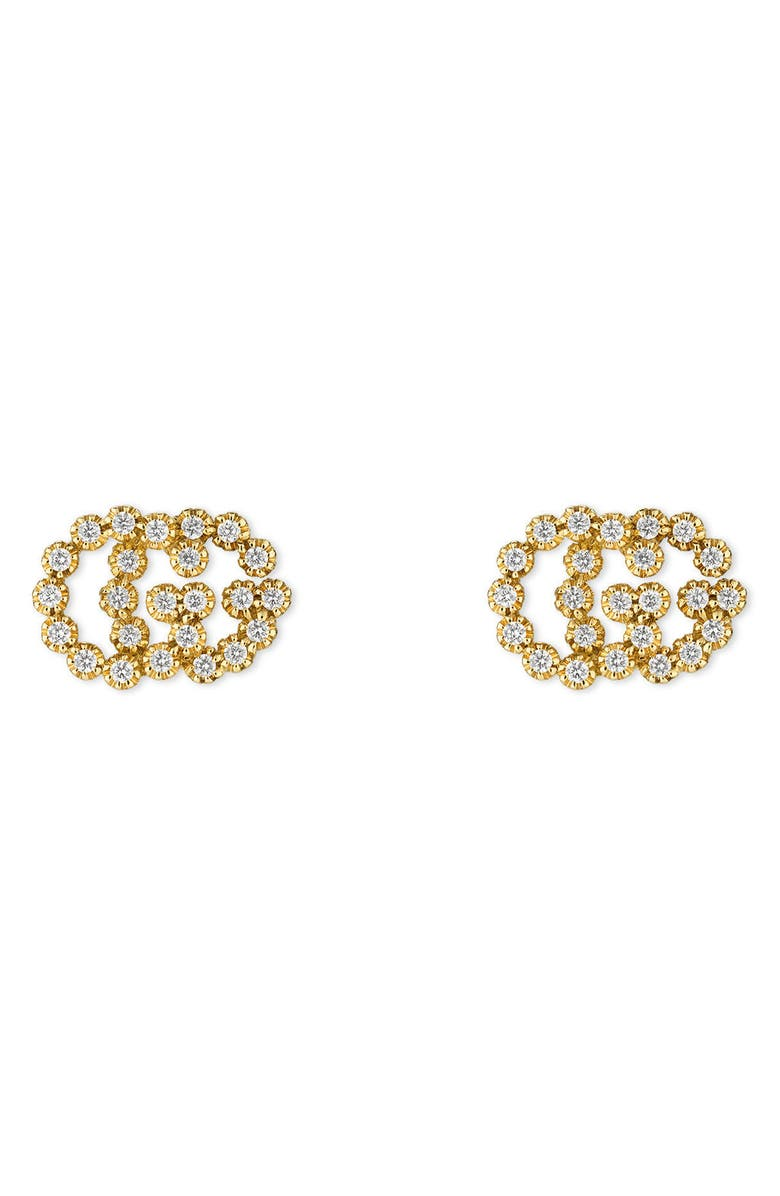 GUCCI Double-G Diamond Stud Earrings, Main, color, YELLOW GOLD