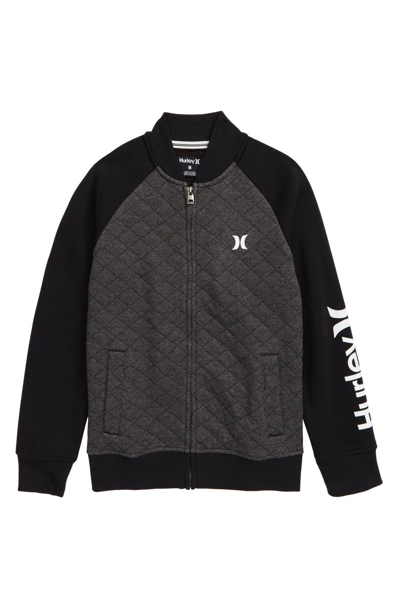 HURLEY Quilted Fleece Varsity Jacket, Main, color, BLACK HEATHER