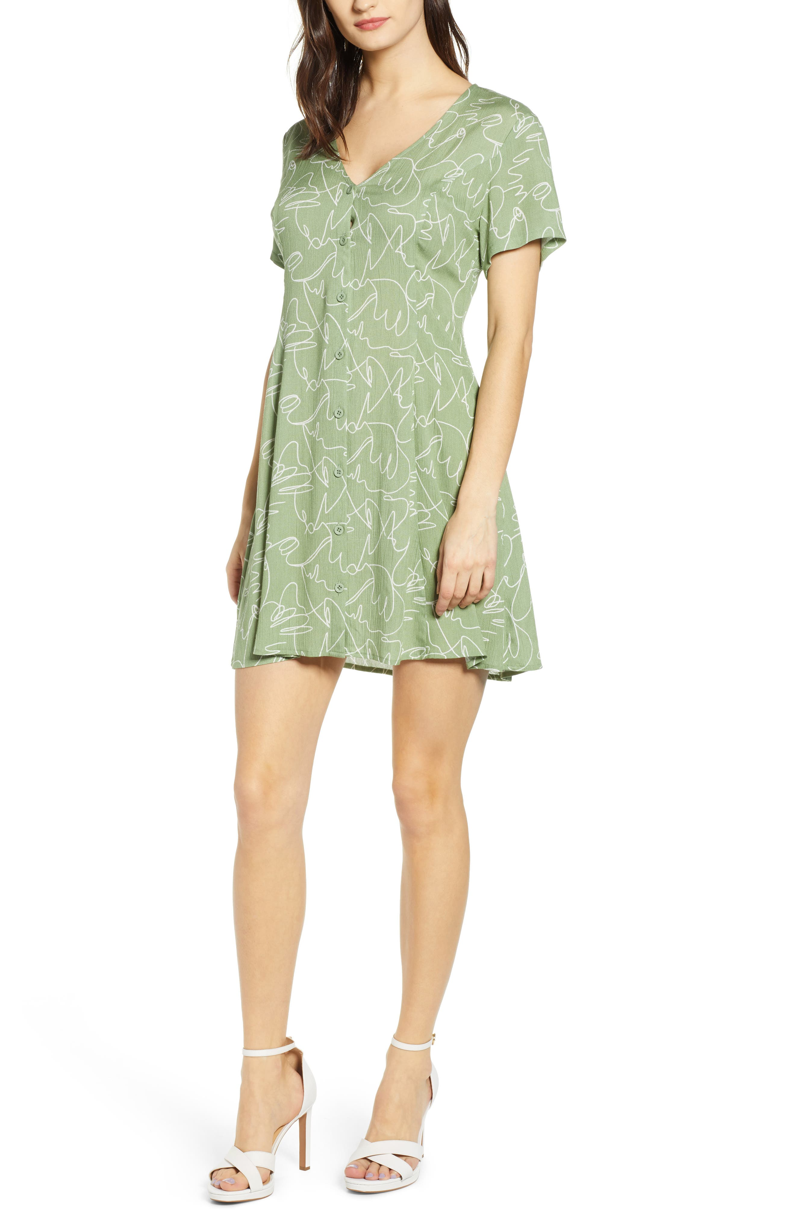 All In Favor Button Up Tie Back Minidress, Green