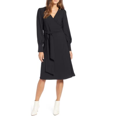 Halogen Long Sleeve Wrap Dress