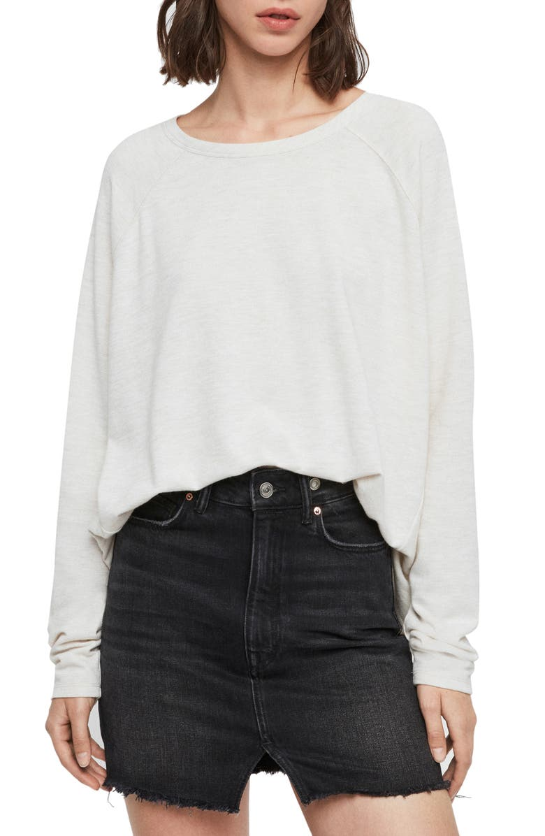 ALLSAINTS Milana Brushed Long Sleeve Top, Main, color, OYSTER WHITE