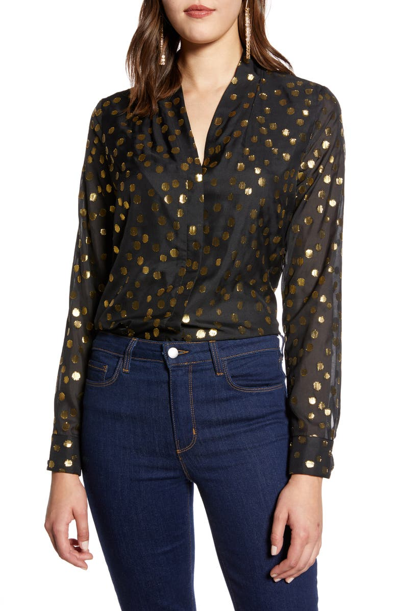 HALOGEN<SUP>®</SUP> Metallic Clip Dot Long Sleeve Blouse, Main, color, 001