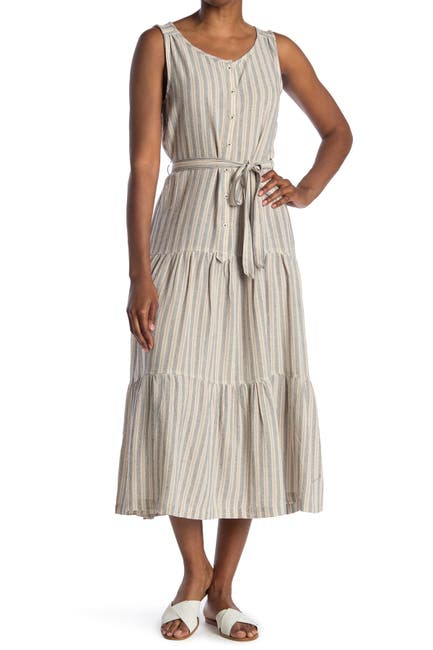 Image of Max Studio Sleeveless Self Tie Button Front Dress