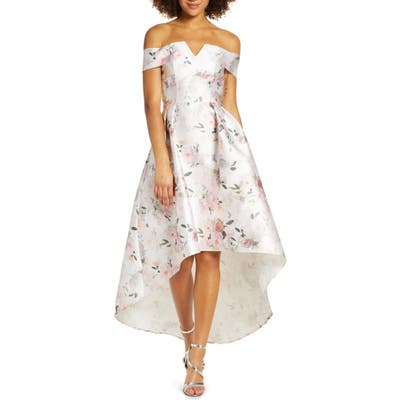 Chi Chi London Off The Shoulder High/low Floral Party Dress, White
