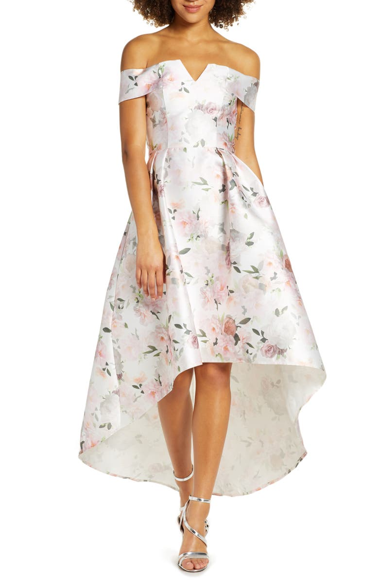 CHI CHI LONDON Off the Shoulder High/Low Floral Party Dress, Main, color, WHITE