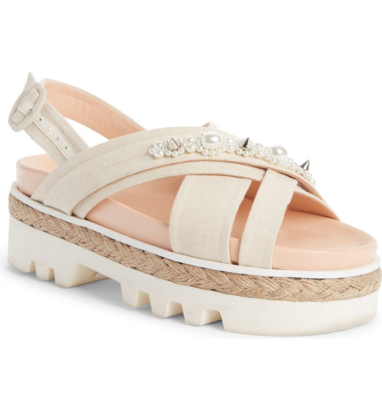 SIMONE ROCHA Spike & Imitation Pearl Slingback Sandal, Main, color, TEA/ PEARL/ NATURAL