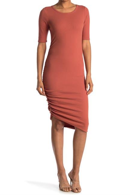 Image of MELLODAY Elbow Length Sleeve Rib Knit Ruched Midi Dress