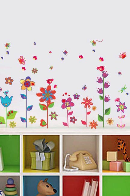 Image of WalPlus Colorful Flowers Butterflies Decal
