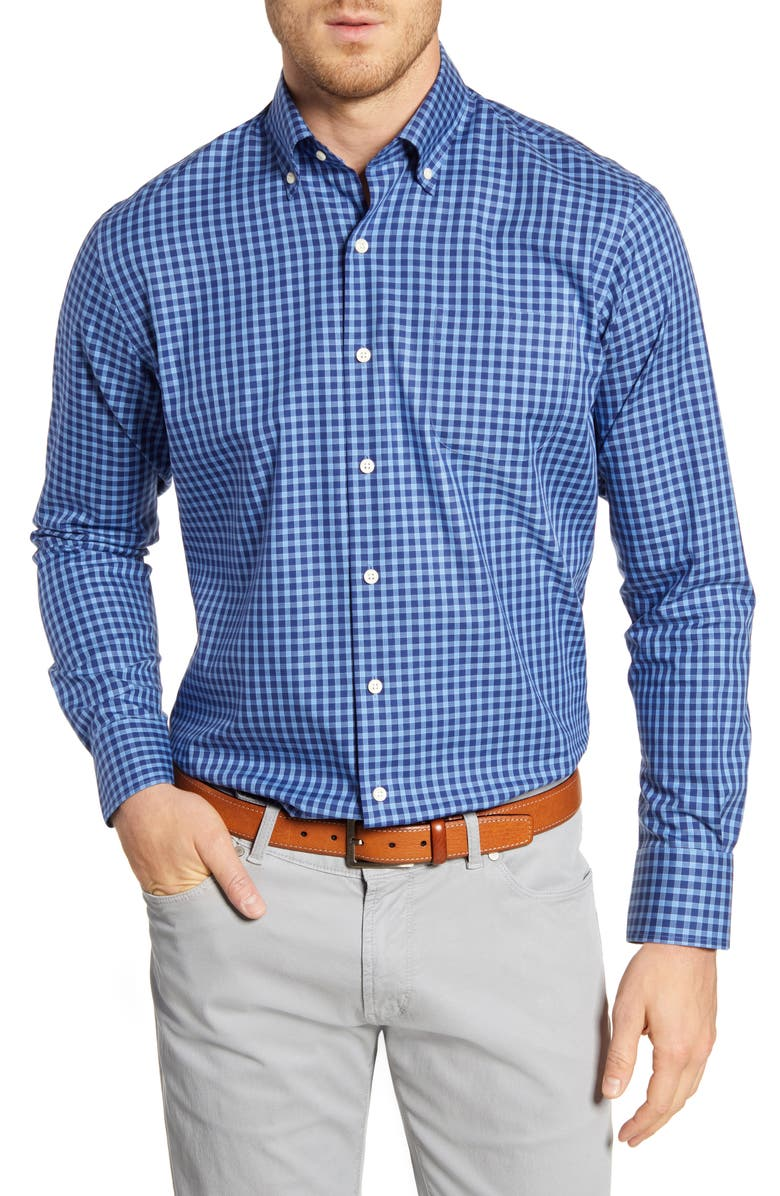 PETER MILLAR Top Sail Regular Fit Check Button-Down Shirt, Main, color, BONNET