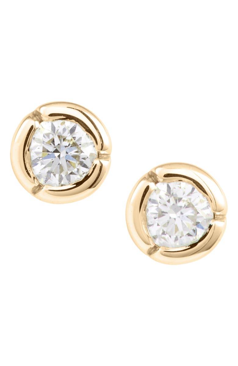 BONY LEVY Petite Bezel Diamond Stud Earrings, Main, color, YELLOW GOLD/ DIAMOND