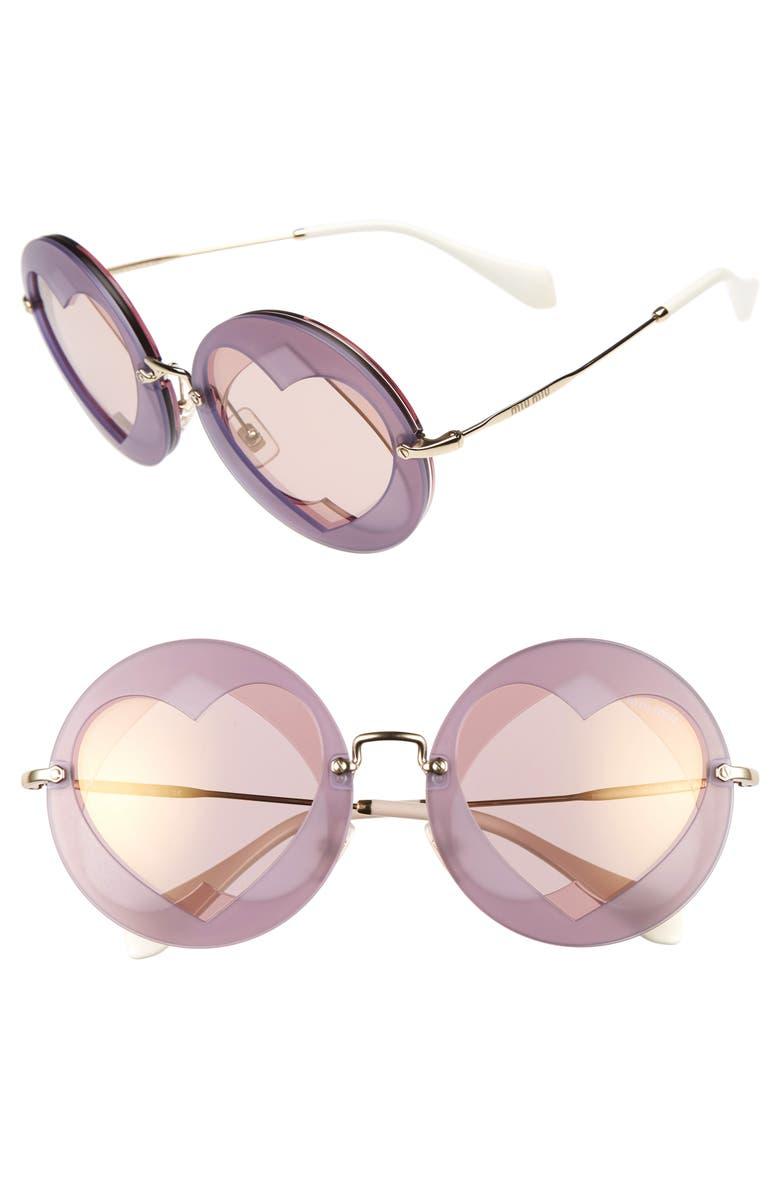 62mm Round Inset Miu SunglassesNordstrom Heart WDEIH92