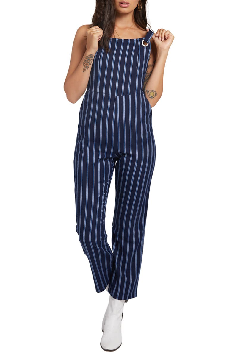 STONE ROW Future Me Stripe Jumpsuit, Main, color, BLUE MID