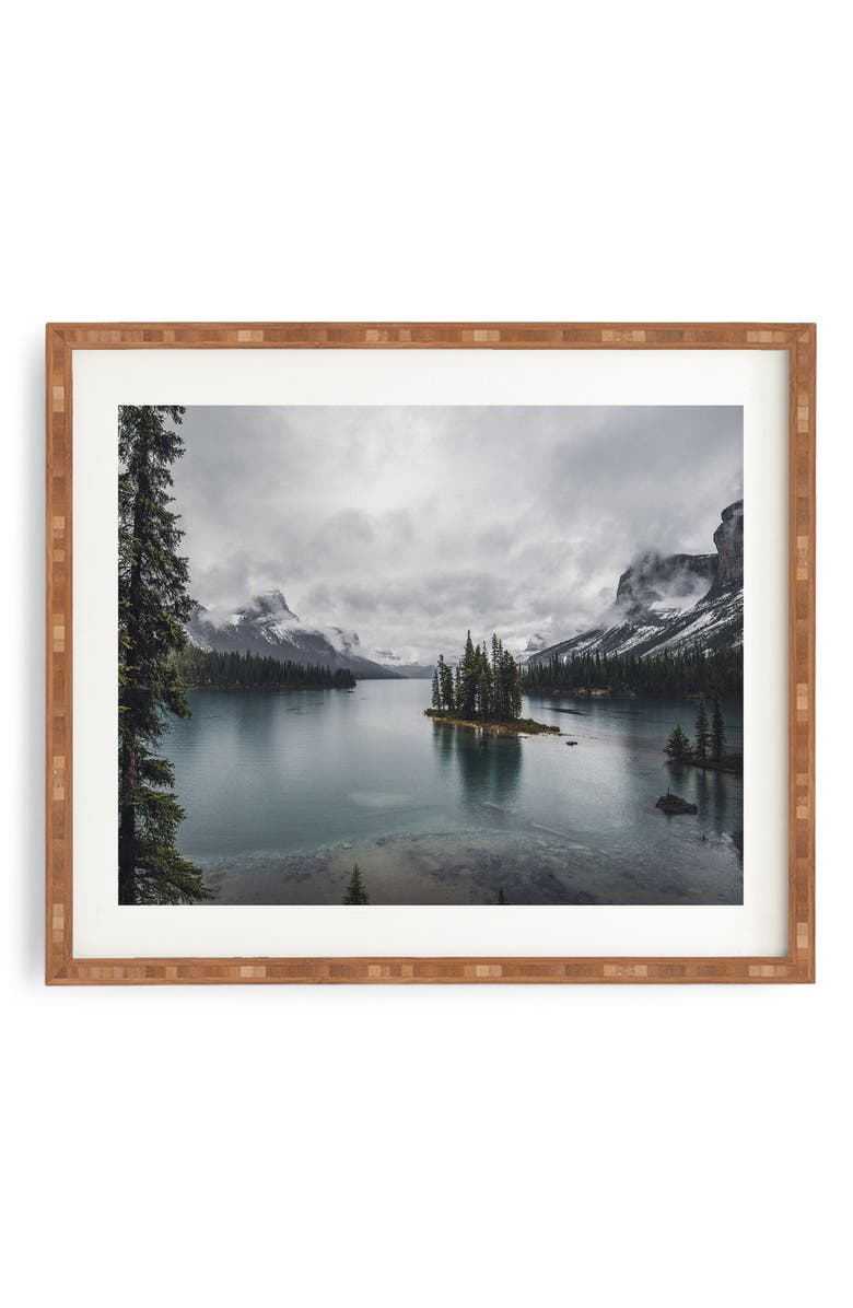 DENY DESIGNS Maligne Lake Framed Wall Art, Main, color, BLUE