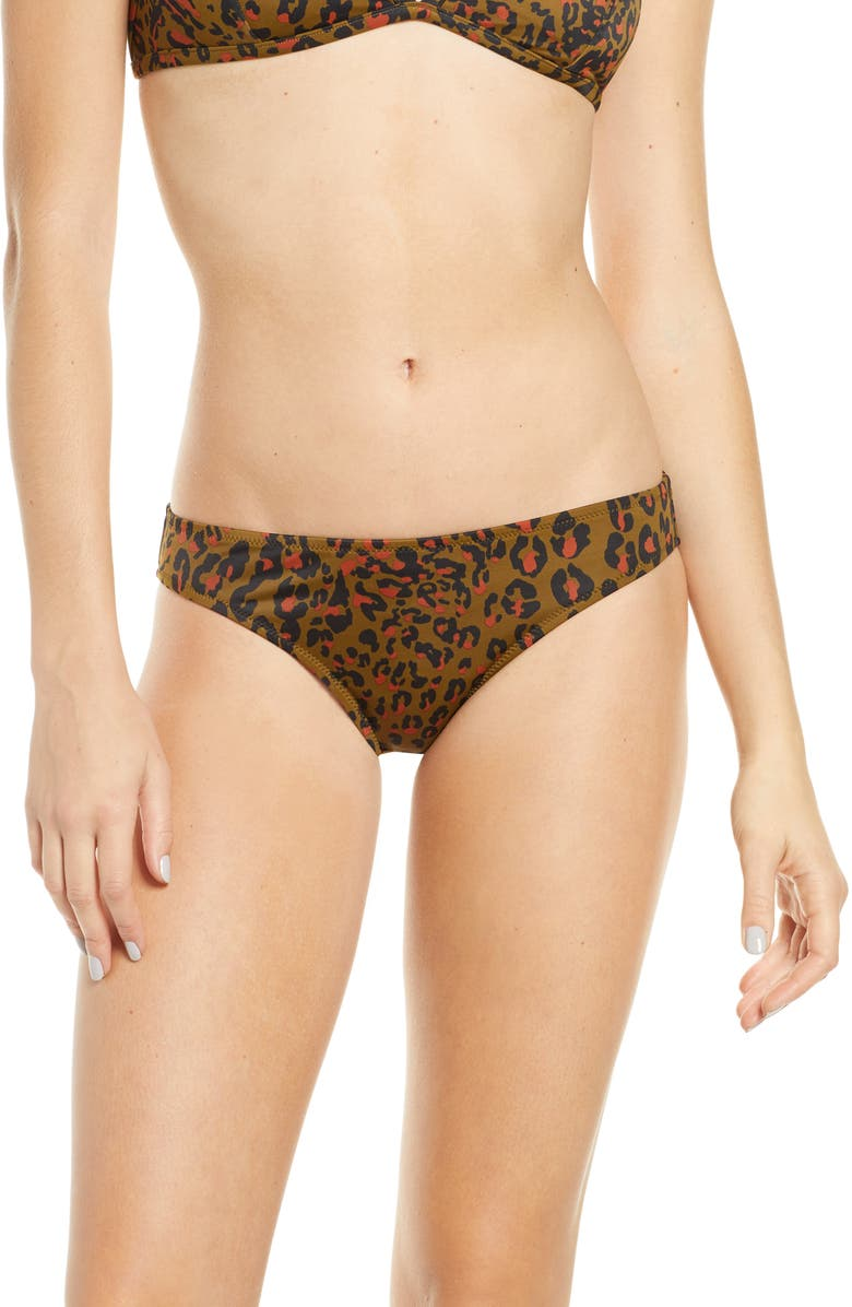 MADEWELL Second Wave Jungle Cat Classic Bikini Bottoms, Main, color, 200