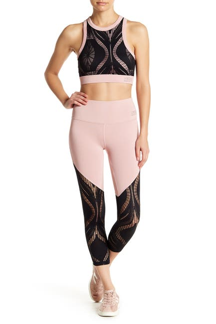 Image of bebe Colorblock Lace Panel Cropped Leggings