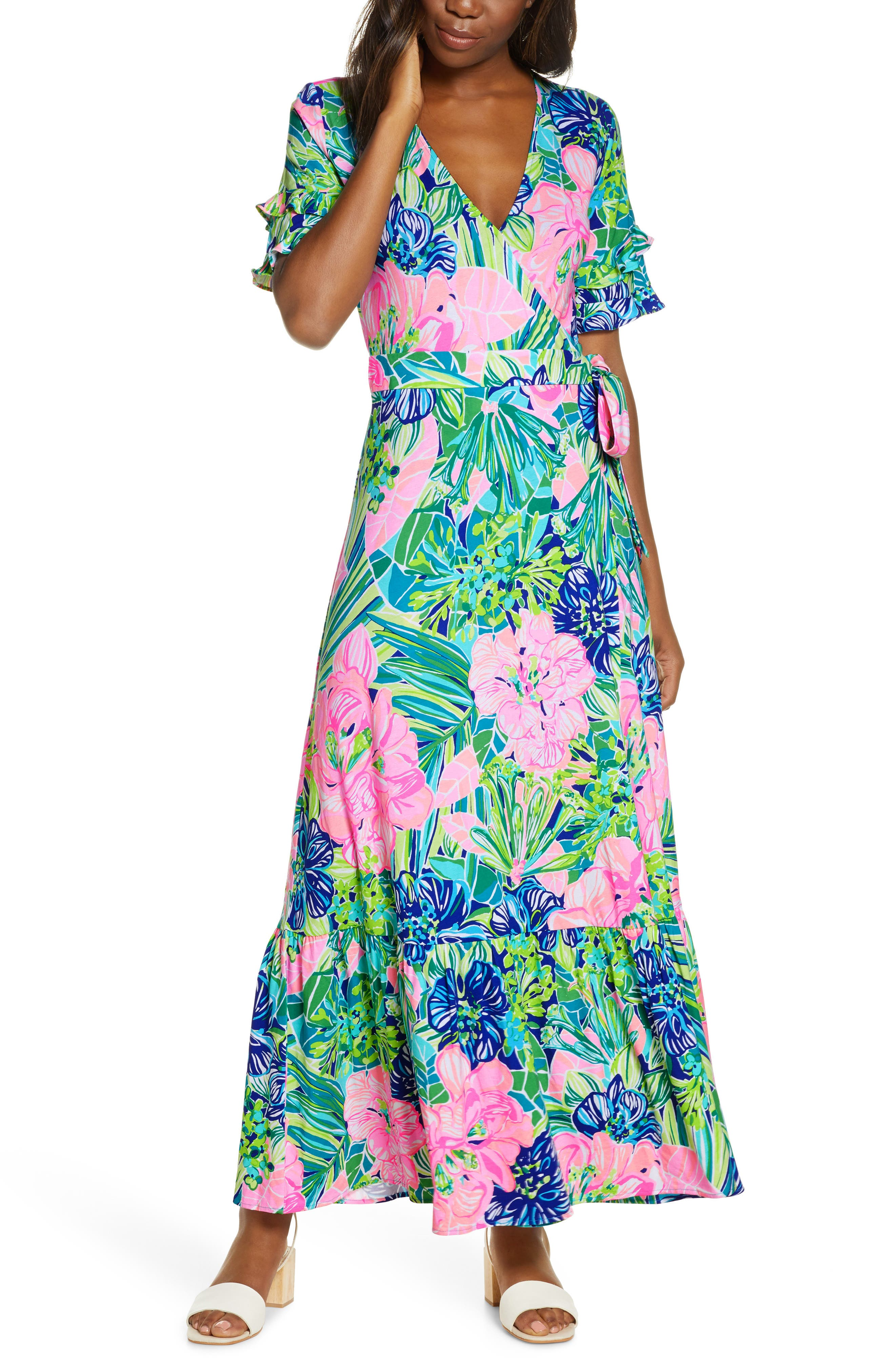 50 Vintage Inspired Clothing Brands & Stores Womens Lilly Pulitzer Emmerson Wrap Maxi Dress $218.00 AT vintagedancer.com