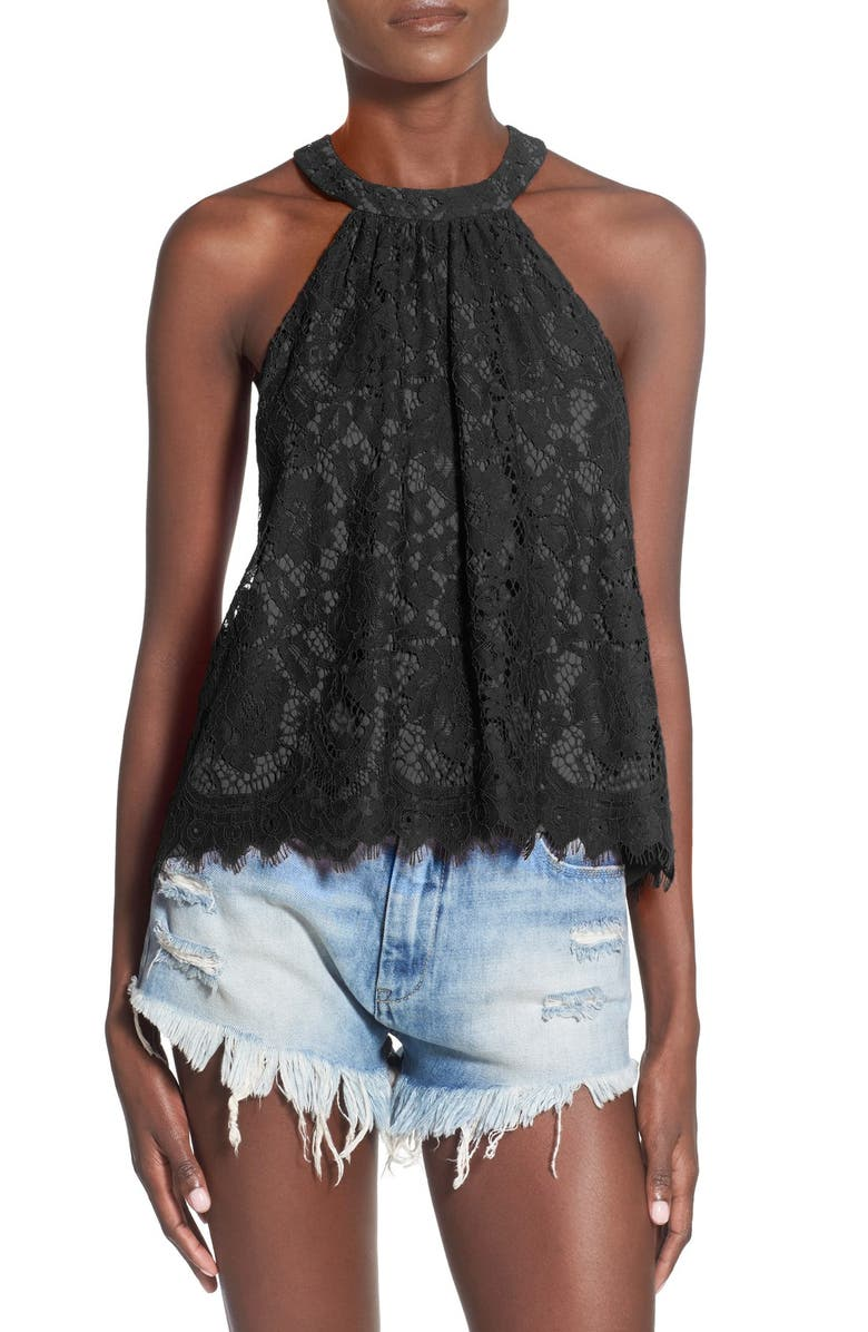 WAYF High Neck Lace Tank, Main, color, 001
