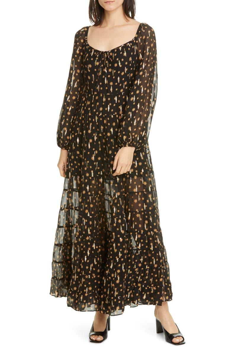RIXO Cameron Star Print Long Sleeve Metallic Silk Maxi Dress, Main, color, MINI STAR BLACK GOLD
