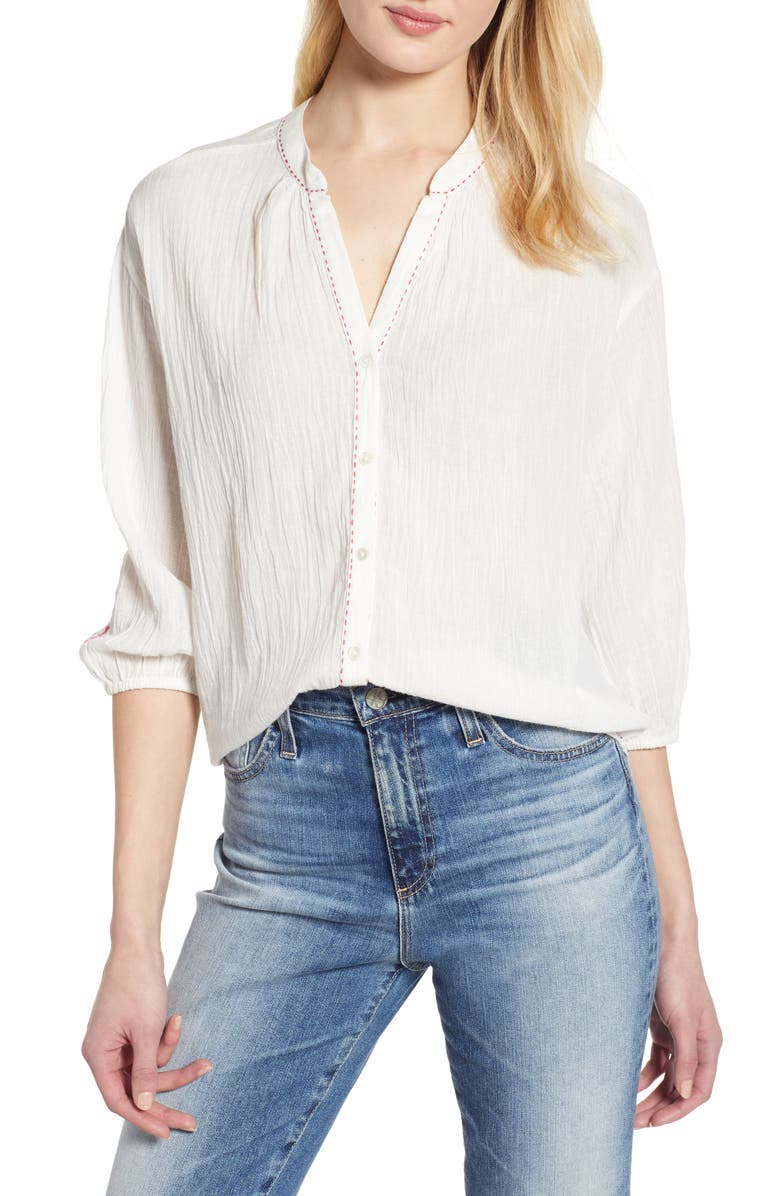 VELVET BY GRAHAM & SPENCER Embroidered Cotton Blouse, Main, color, 902