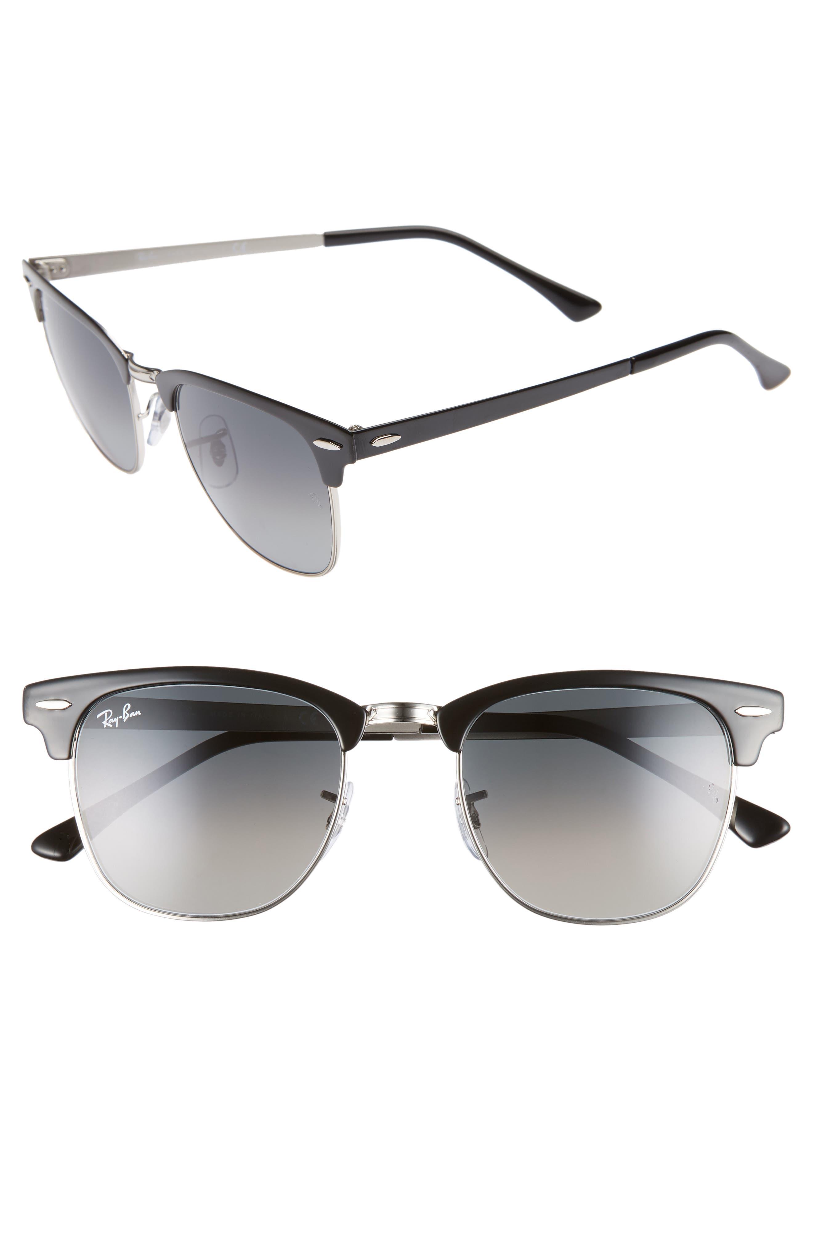 Ray-Ban Icons 51Mm Browline Sunglasses - Silver Black