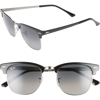 Ray-Ban Icons 51Mm Browline Sunglasses - Silver Black