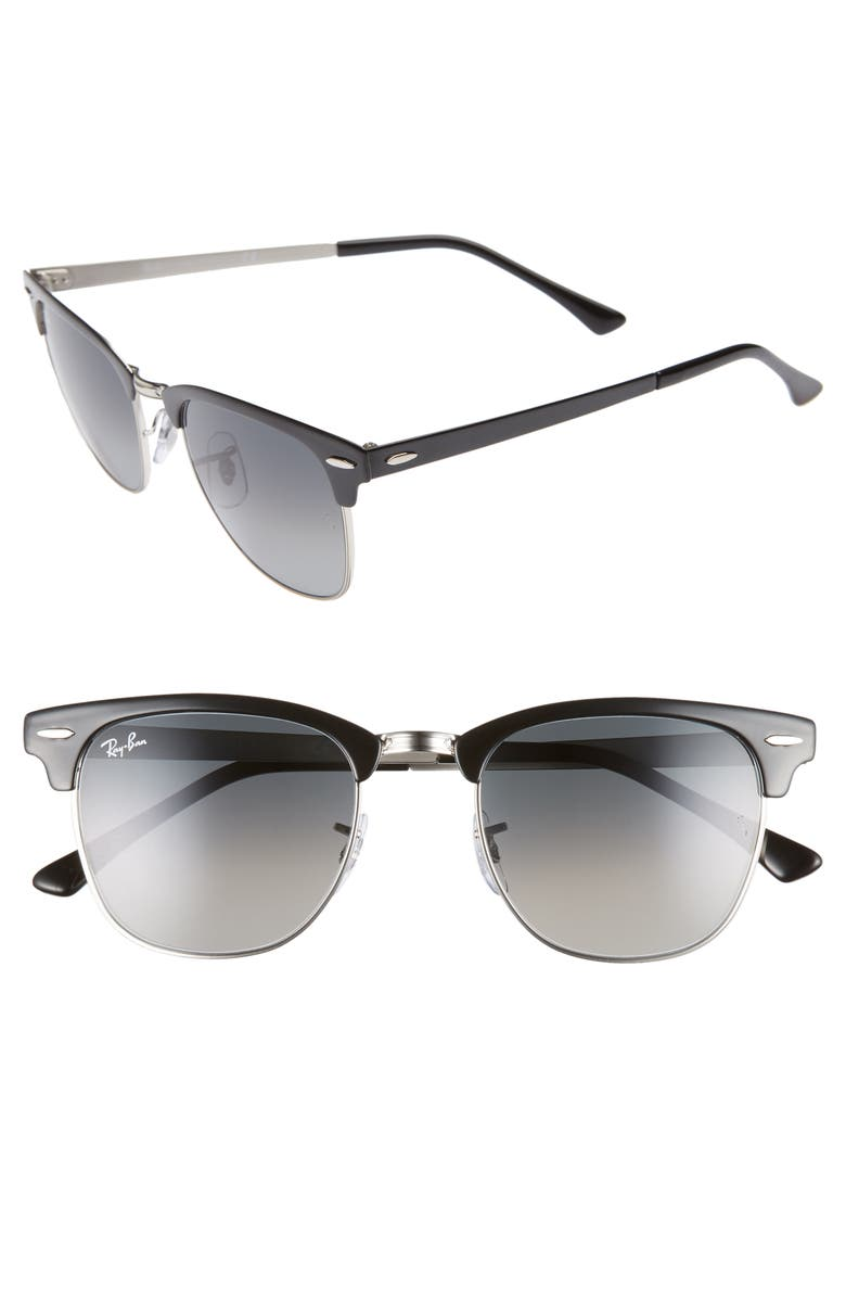RAY-BAN Icons 51mm Browline Sunglasses, Main, color, SILVER BLACK