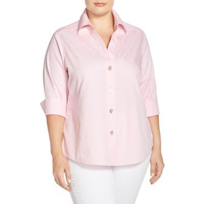 Plus Size Foxcroft Paityn Non-Iron Cotton Shirt, Pink