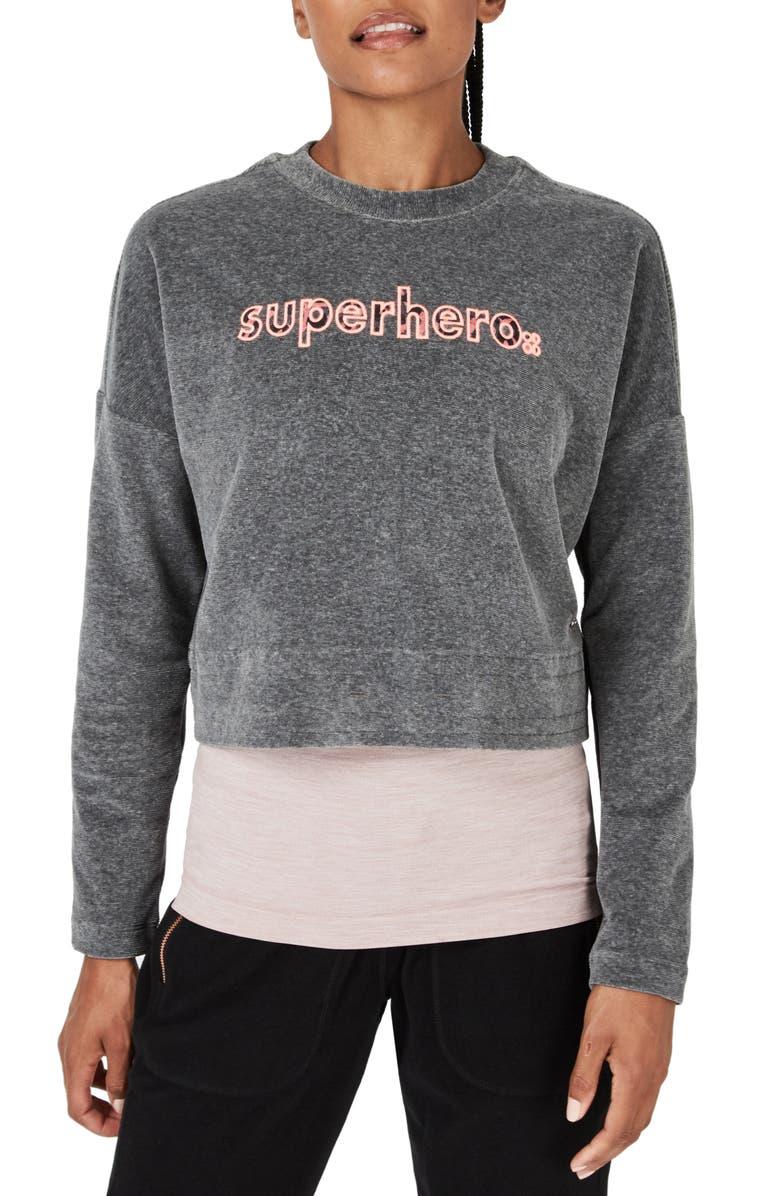 SWEATY BETTY Softie Superhero Crop Pullover, Main, color, CHARCOAL MARL