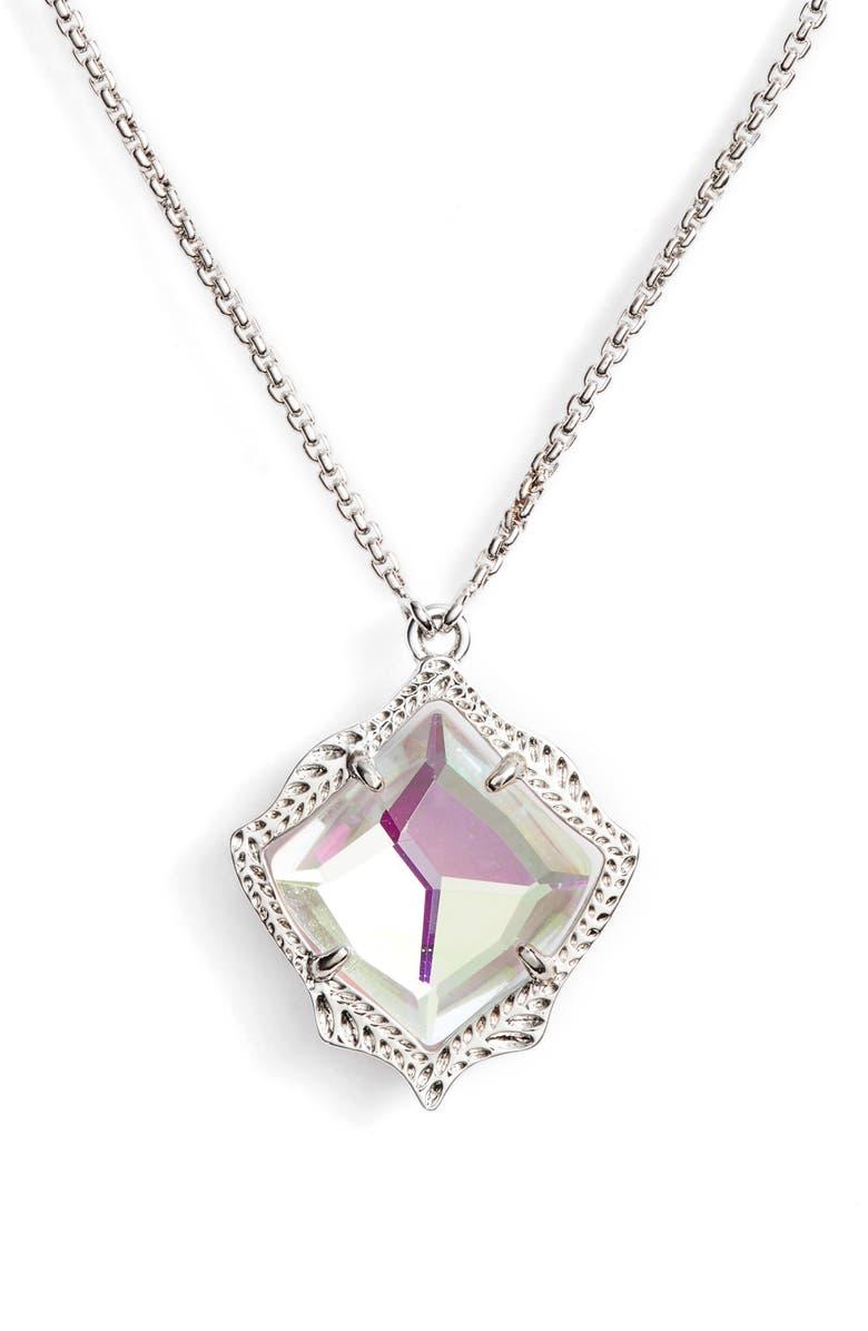 KENDRA SCOTT Kacey Adjustable Pendant Necklace, Main, color, DICHROIC GLASS/ SILVER