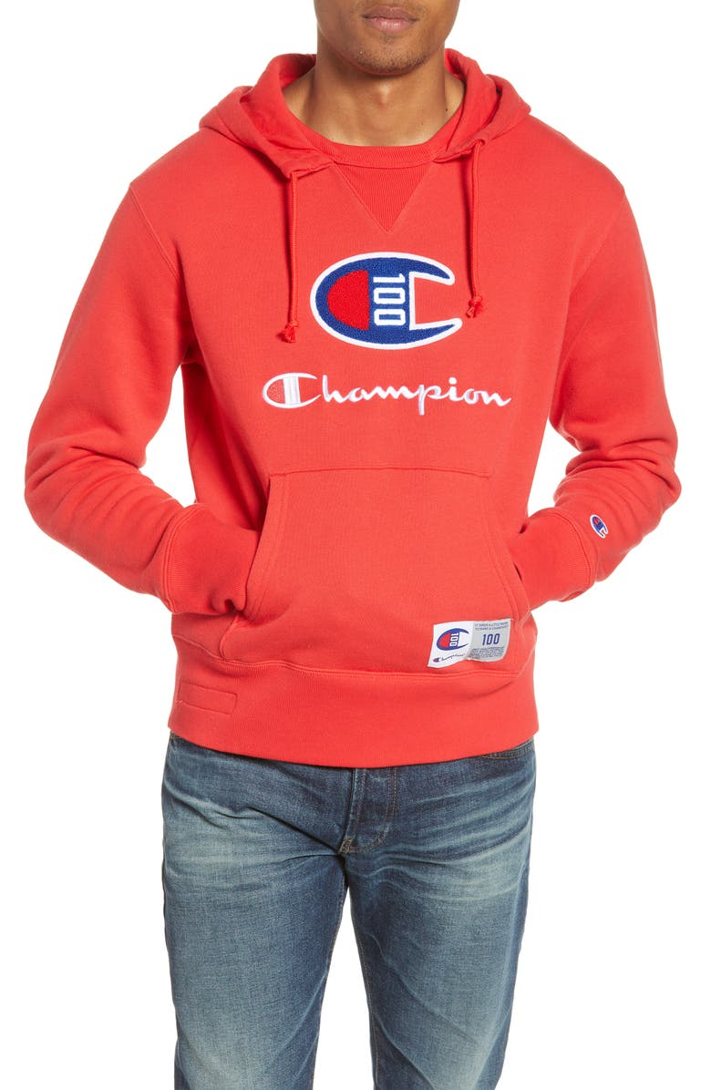 CHAMPION Century Collection Logo Pullover Hoodie, Main, color, SCARLET