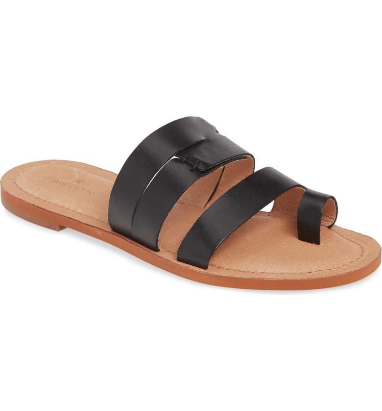 CASLON<SUP>®</SUP> Mari Toe Loop Slide Sandal, Main, color, BLACK LEATHER