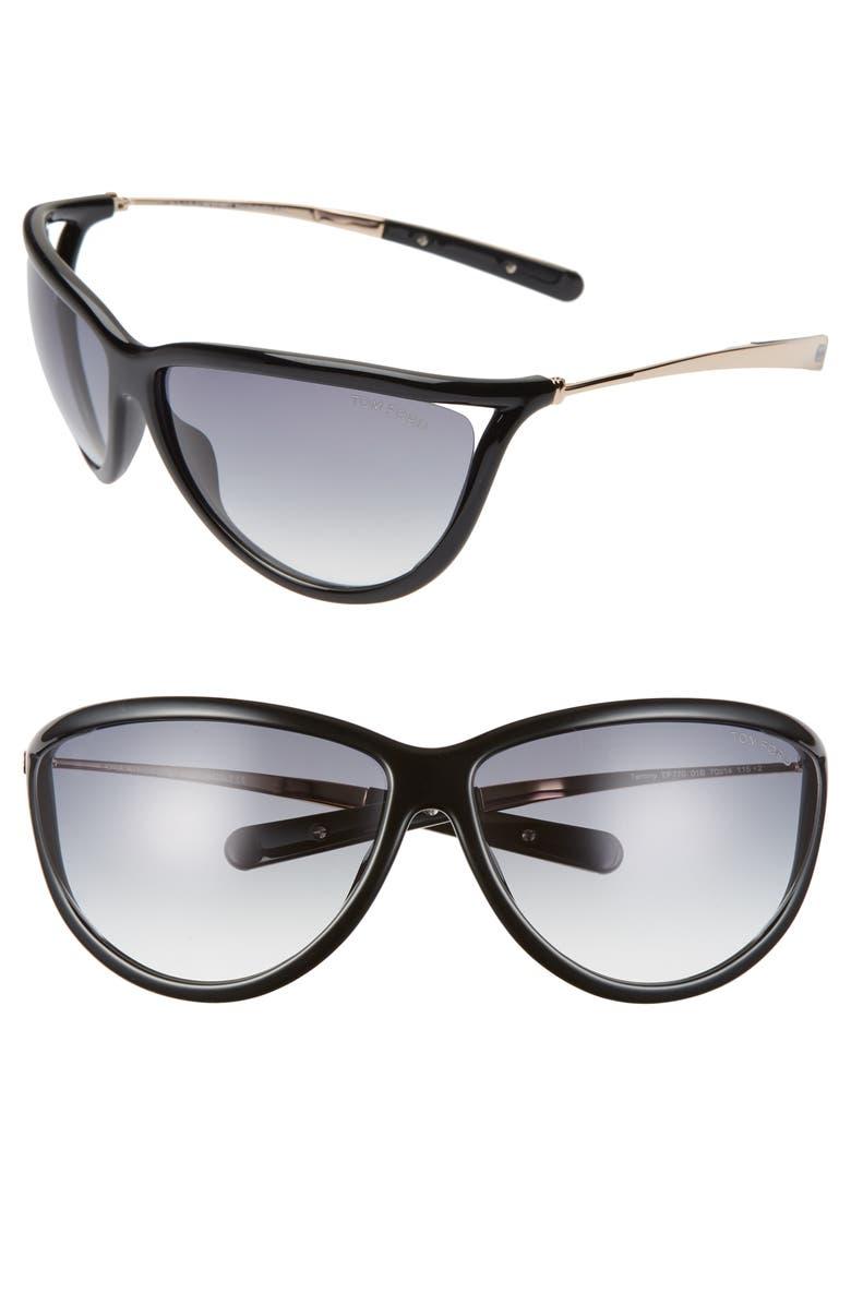 TOM FORD Tammy 70mm Oversize Gradient Sunglasses, Main, color, SHINY BLACK/ GRADIENT SMOKE