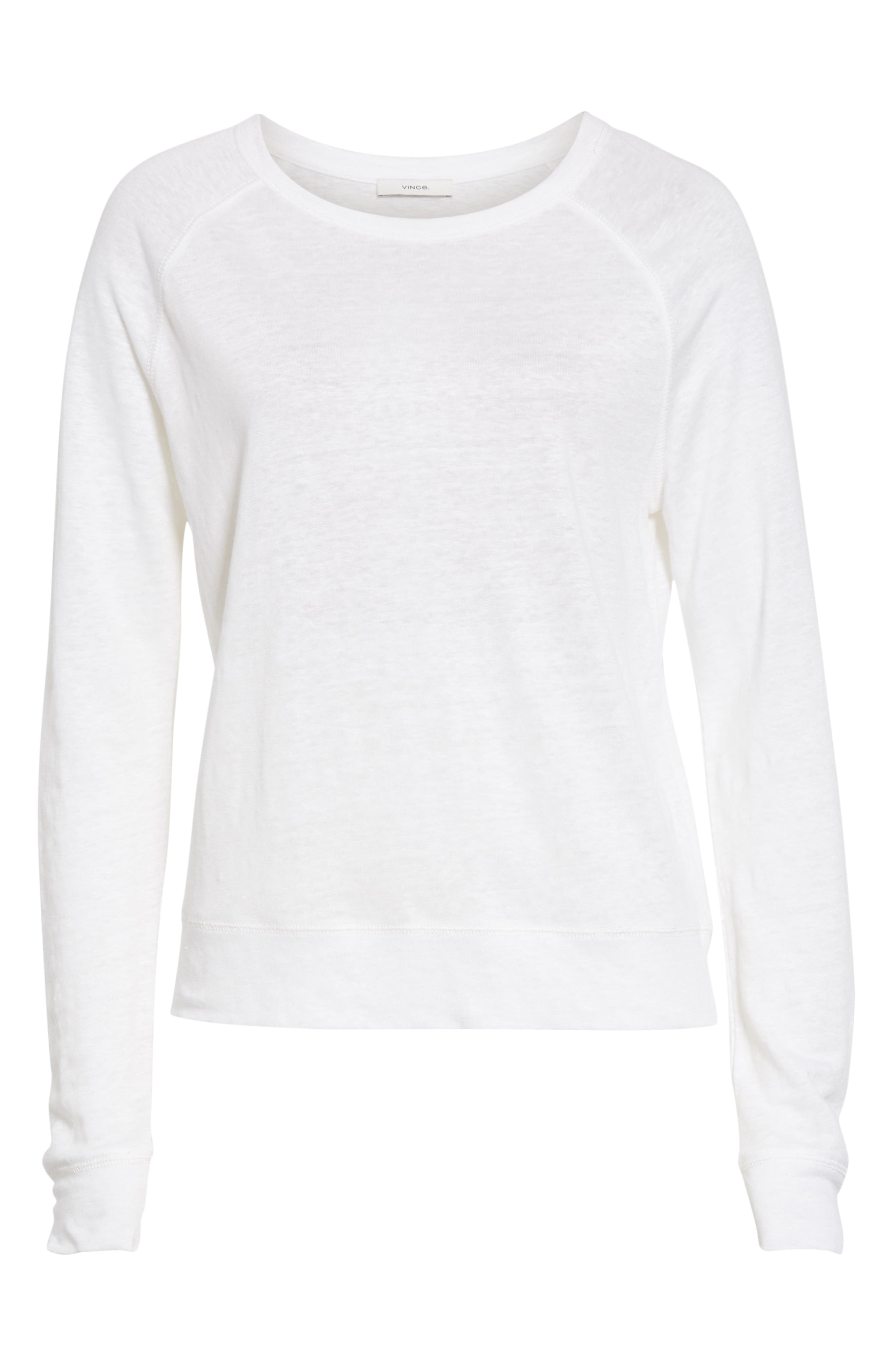 ,                             Long Sleeve Crewneck Linen Top,                             Alternate thumbnail 6, color,                             OPTIC WHITE