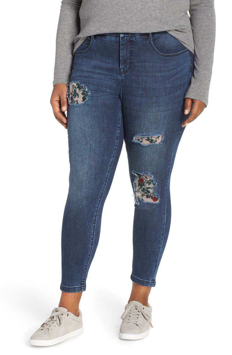 YSJ Floral Patch Ankle Skinny Jeans, Main, color, SCARSDALE WASH