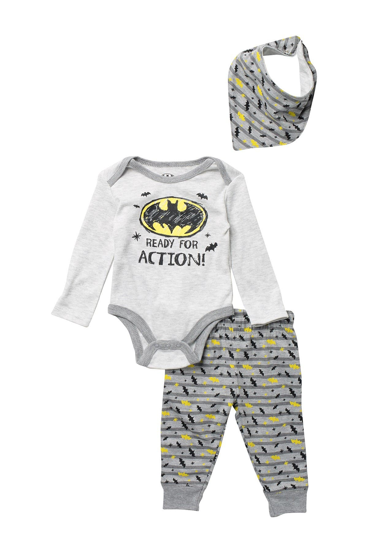 Image of HAPPY THREADS Batman 3-Piece Bodysuit Set